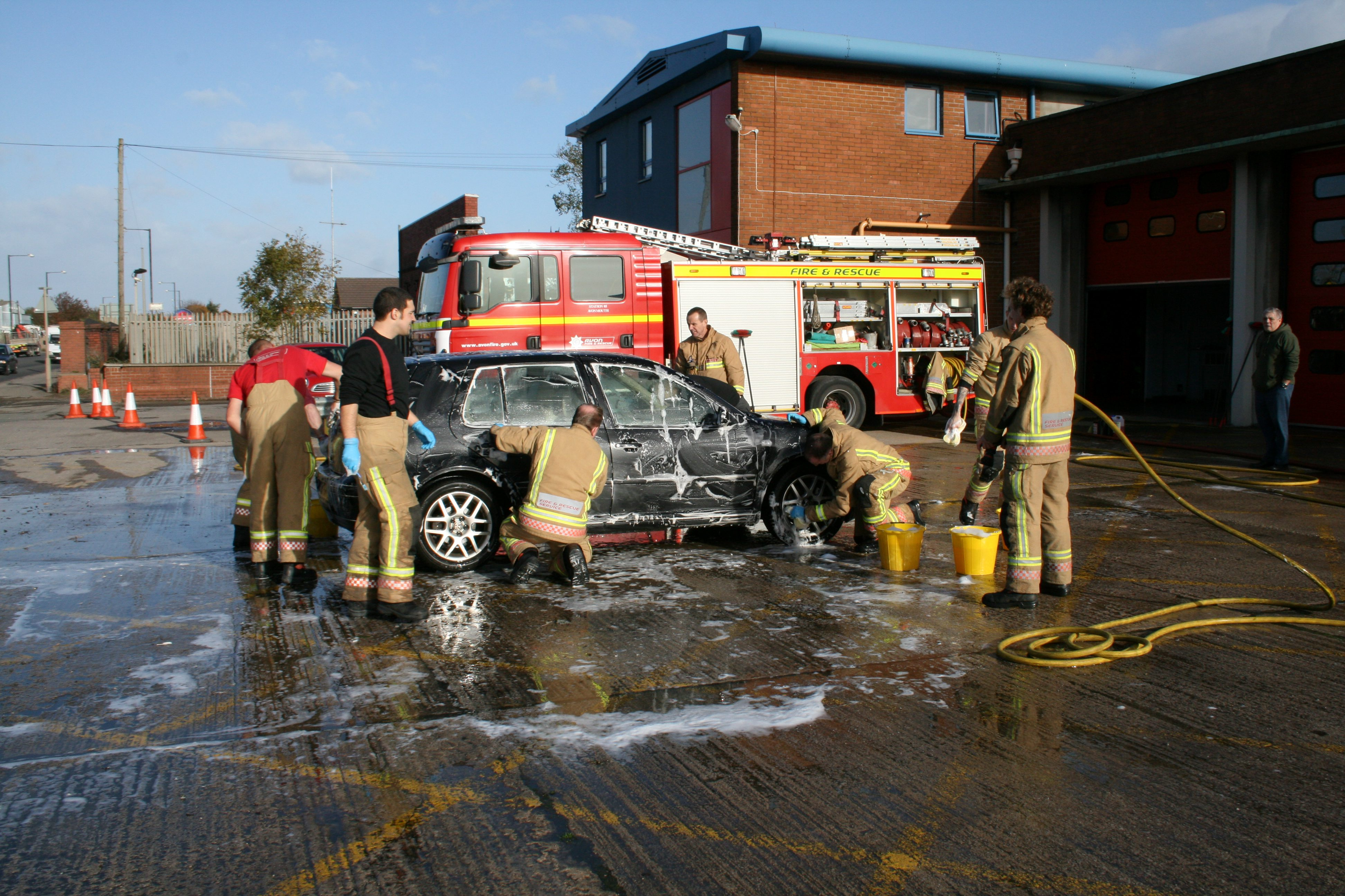 Hoses at the ready for charity car wash