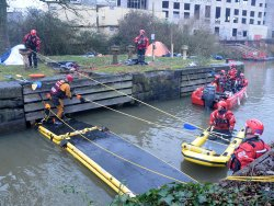 Water rescue demonstration at Motion Nightclub