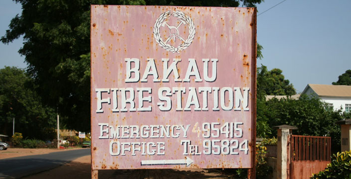 Sign for the Gambia fire service