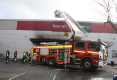 Fire engine outside bedstore