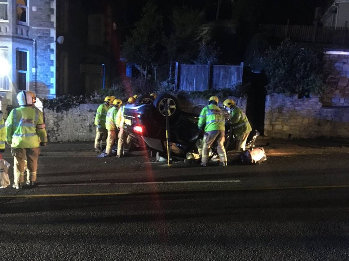 Casualty rescued from car on roof