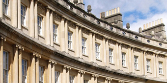Image of royal crescent in Bath which links to the Bath and North East Somerset area of the website