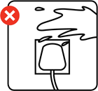 Illustration advising to keep liquids away from electric sockets