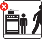 Graphic depiction of parent leaving child with a pan on the hob