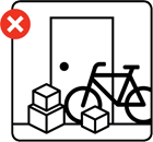 Illustration of a bicycle and some boxes obstructing a possible fire escape route