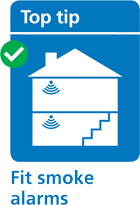 illustration of a house with smoke alarms fitted on both floors