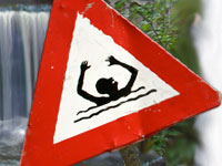 Drowning warning sign
